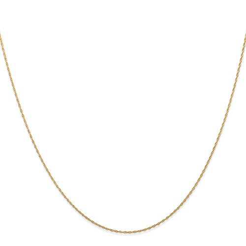 14K Yellow Gold 0.50MM Carded Cable Rope Link Chain Necklace, 24