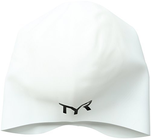TYR Long Hair Wrinkle-Free Silicone Swim Cap, - Swim White Cap