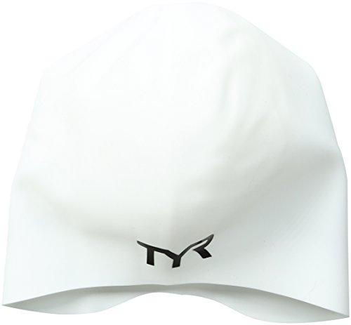 TYR Long Hair Wrinkle-Free Silicone Swim Cap, - Cap Swim White