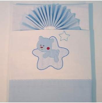 10XDIEZ Juego de sábanas Cuna Franela Star Blanco/Azul - Medidas sabanas bebé - Minicuna (50x80cm)