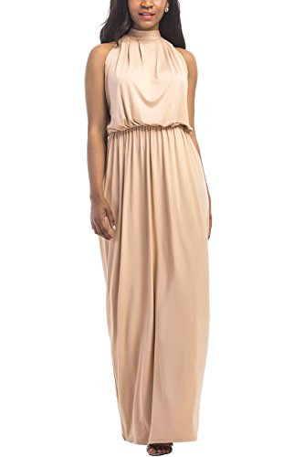 WIWIQS Womens Plus Size Halter Wrap Ruched Waisted Loose Long Party Bridemaid Dress,Beige,XL