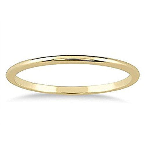 1mm Thin Plain Comfort Fit Domed Wedding Band Ring in 14k Yellow Gold Over 925 Sterling Silver