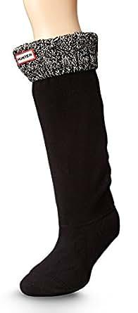 Hunter Women's 6 Stitch Cable Boot Sock Black/Grey Medium