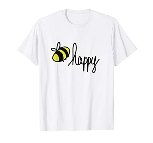 Doodle Bee Happy T Shirt   Unisex Shirt   Handrawn Design TM