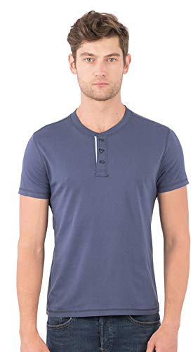 SOIZZI Fashion Men Classic Henley, Slim Fit T Shirt, Organic Cotton, Short Sleeve, Basic and Casual Design Tee, Navy-M