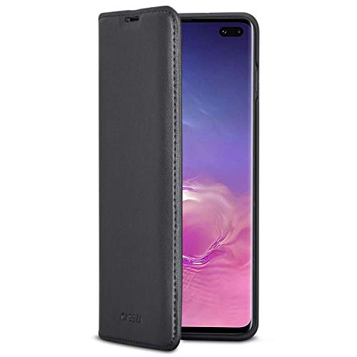 Samsung Galaxy S10 Plus Flip Case Black PU Leather - CASEZA Oslo Premium Vegan Leather Wallet Book Folio Cover for The Original Galaxy S 10 + (6,4 inch) - Ultra Thin with Magnetic Closure