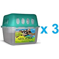 Absorbia Moisture Absorber, Dehumidifier, Basement Odor Eliminator Re-Usable Box W/Refill Pouch - Pack of 3