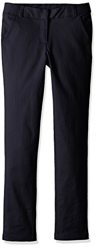 Nautica Big Girls' Uniform Straight Leg Stretch Twill Pants, Navy, 7