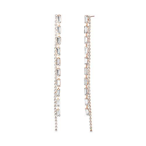 Steve Madden Women's Rhinestone Duo Strand Dangle Rose Gold-Tone Earrings