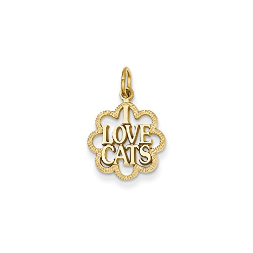 Mireval 14k Yellow Gold I Love Cats Charm (14 x 22 mm) (Gold Cat Charm Yellow)
