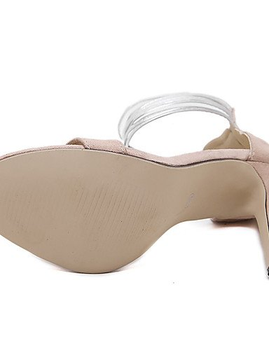 LFNLYX Zapatos de mujer-Tacón Stiletto-Punta Abierta-Sandalias-Vestido / Casual-PU-Negro / Almendra
