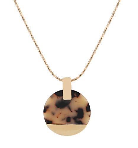 Youmi Pendant Necklace Acrylic Metal Disc Pendant Statement Necklace Long Snake Chain Gold Lariat Necklace Jewelry (Leopard)