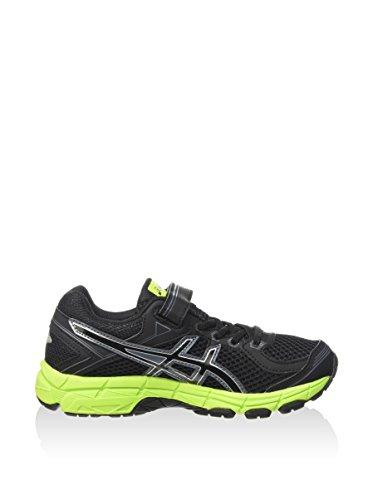 Asics GT 1000 4 PS - Zapatillas de running para niño, color rosa / verde / azul, talla 27 Negro (Black / Onyx / Flash Yellow)