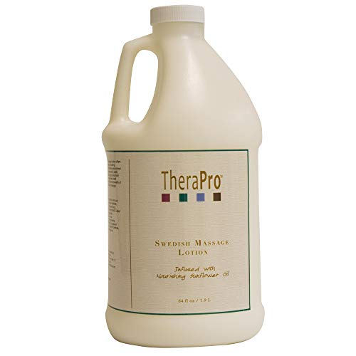 Swedish Massage Lotion by TheraPro - Infused with Pure Sunflower Oil - Unscented, Water Dispersible - Smooth Glide, Lasting Workability, No Residue - Hydrate Skin, Relieve Soreness - 1/2 Gallon