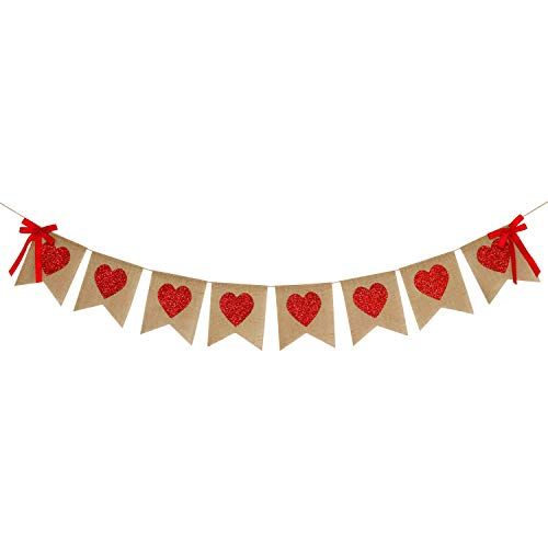 Burlap Heart Banner Garland | Red Glitter Heart | Valentine's Day Decorations| Rustic Valentines Decor | Valentines Burlap Banner | Wedding Anniversary Birthday Party Decorations Supplies -