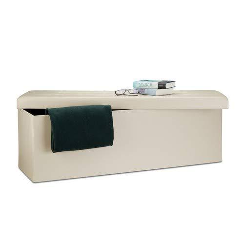Relaxdays Banco plegable, Baul de almacenaje, Cuero sintetico, 38 x 114 x 38 cm, Crema