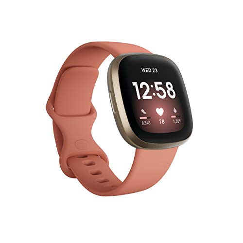 Fitbit Versa 3, Health & Fitness Smartwatch with GPS, 24/7 Heart Rate, Voice Assistant & up to 6+ Days Battery, Pink Clay/Soft Gold Aluminium