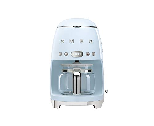 Smeg DCF02PBUK, 50'S Retro Style Drip Filter Coffee Machine, 10 Cup Capacity with Aroma Intensity Function, Water Hardness Adjustment & 1.4 L Tank, Reuseable Coffee Filter, Cream, 1 Year Warranty
