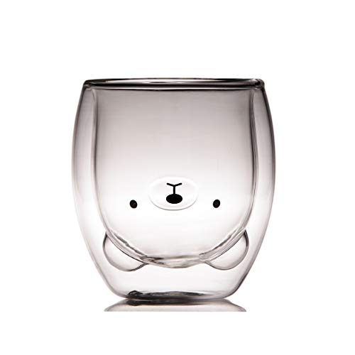 Coffee Cup, Tea Cup, Milk Cup, Double Wall Glass, Bear, cute gift, 8.4 oz, office and personal cup, birthday present