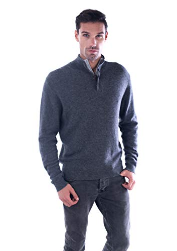 cashmere 4 U Men's 100% Pure Cashmere Pullover Half Zip Mock Neck Sweater