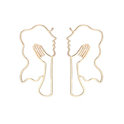 Dangle Earring Retro Art Abstract Hollow Face Dangle Drop Ear Stud Gold Round Piece Lady Hollow Jewelry (gold) ()