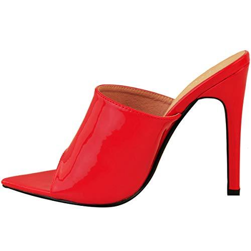 Talla Mujer Barely Salón Heelberry De Alto perpsex Rojo Tacón There Cordones Sexy Sandalias Sin Charol Fiesta FpqwxO1q
