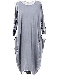 Women Plus Size Dress Solid Color Long Sleeve Round Neck Pockets T Shirt Dress