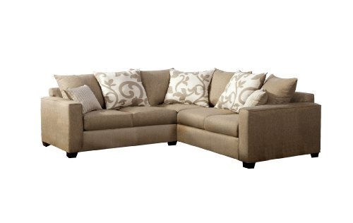 Price comparison product image Furniture of America Fairfax Modern Sectional with Accent Pillows, Sand Stone