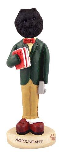 Pomeranian Black Accountant Doogie Collectable Figurine