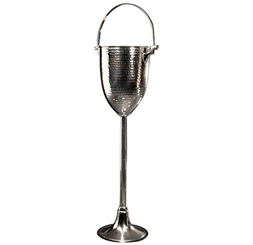 "Sleek Brass Champagne Cooler & Stand - 26"" Hammered Wine ..."