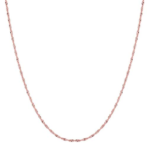 (14K Yellow or White or Rose/Pink Gold 1.00mm Shiny Diamond-Cut Classic Singapore Chain Necklace for Pendants and Charms with Spring-Ring Clasp (7