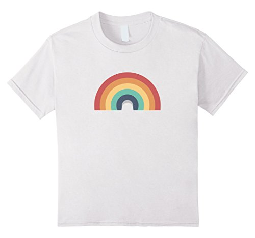 Double Rainbow Costume (Kids Plain Rainbow Vintage Emoji Costume shirt - Love 70s - 80s 8 White)