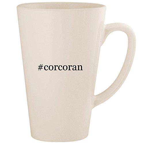 #corcoran - White Hashtag 17oz Ceramic Latte Mug Cup -