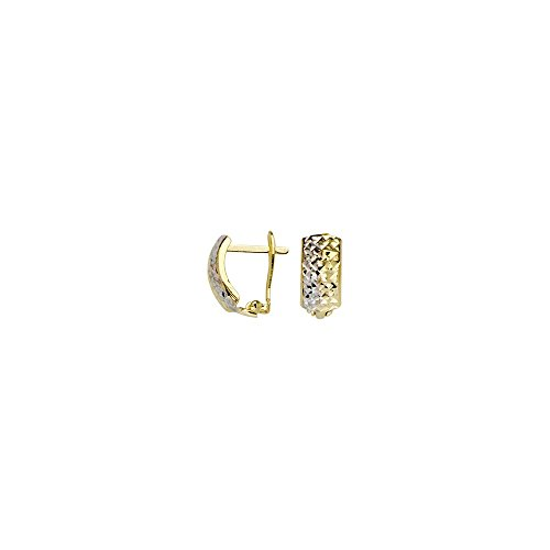 10k Yellow and White Gold Two-tone Criss Cross Diamond-cut Clip Back Earrings by JewelryWeb