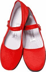 Mary Jane Cotton China Doll Slippers in US Womans Sizes (Red)