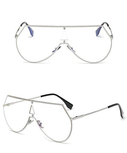 Película Gafas de de los Hielo la de Metal Caja RFVBNM Espejo Gafas Manera de Hombres Gafas Azul de del Sol Corea Plata Sol de de Marco de sol de plateado Color Siamés marco xTRtBO
