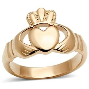 Womens Ip Rose Gold Irish Celtic Claddagh Stainless Steel Ring,Size:7