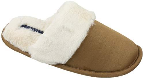 - IZOD Women's Memory Foam Slippers, Suede Upper and Plush Collar, Slip on Scuff House Slipper, X-Large / 11-12, Tan Beige