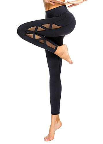 romansong High Waisted Yoga Leggings for Women with Pockets Mesh Sexy Sports Gym Pants Ripped Workout Leggings Butt Lifting Active Wear Athletic Pants Distressed Black Medium
