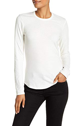 James Perse Long Sleeve Brushed Jersey Crew Neck Tee Shirt for Women in Ice Cream, ()