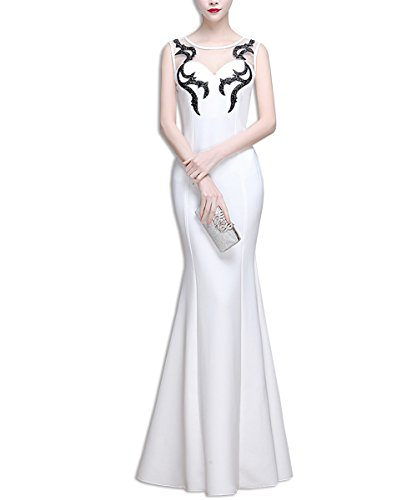 Abendkleid Brautjungfernkleid Elegant KAXIDY Ärmellos Abendkleider Lang Spitze Festkleider Weiß Damen wBIxg5xqWX