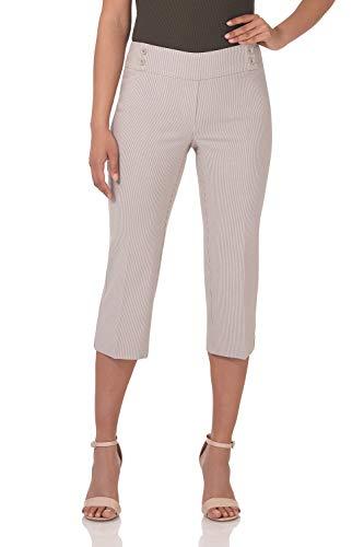(Rekucci Women's Ease in to Comfort Fit Capri with Button Detail (8,Khaki/White Stripe))