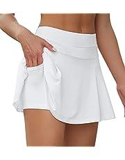 VUTRU Women's Pleated Tennis Skirts High Waisted Athletic Golf Skirt with Pocket Shorts Sport Running Skorts