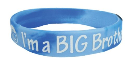I'm a Big Brother / I'm a Big Sister Silicon Wrist Band Bracelets - Sibling Announcement Gift (Blue - Big Brother)
