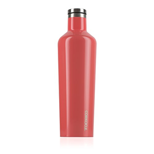Corkcicle Canteen Classic Collection-Water Bottle & Thermos-Triple Insulated Shatterproof Stainless Steel, 25 oz, Gloss Coral
