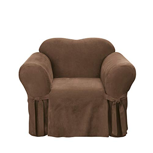 Sure Fit Soft Suede 1-Piece  - Chair Slipcover  - Chocolate (SF34539) (Soft Sure Suede Sofa Fit)