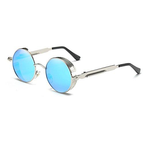 Ronsou Steampunk Style Round Vintage Polarized Sunglasses Retro Eyewear UV400 Protection Matel Frame silver frame/blue - Blue Steampunk