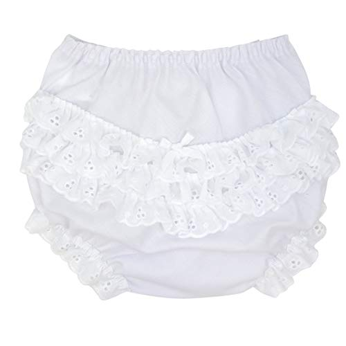 I.C. Collections Baby Girls White Batiste Rumba Diaper Cover Bloomers, Size M