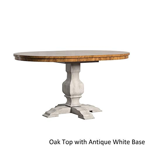Inspire Q Eleanor Two-Tone Oval Solid Wood Top Extending Dining Table by Classic Antique White Antique, Oak Finish, Cream Finish, Distressed, (Cream Extending Table Dining)