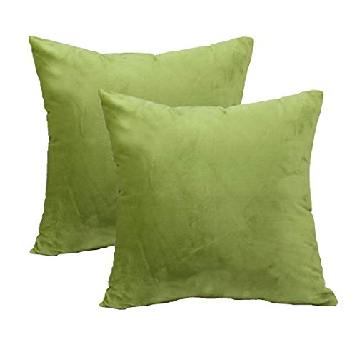 sykting Decorative Pillow Covers Solid Super Soft Square Cushion Covers Fuzzy Pillow Cases for Bed/Couch/Chair Pack of 2 18 x 18 inch Green - Olive Fabric Sofa